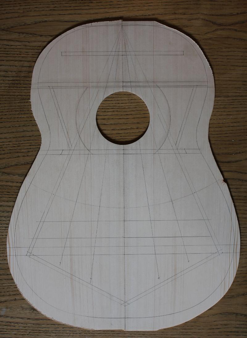 tracé du barrage de la table d'harmonie de la guitare