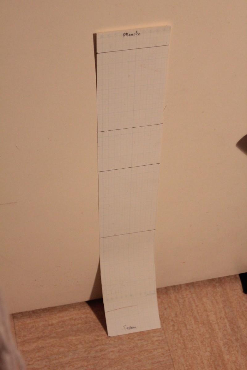 Bande de papier cartoné de la taille des éclisses dépoyées et marquées aux points de courbure de la forme de la guitare