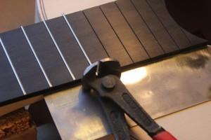 Protection de la table d'harmonie pour la découpe des frettes 12 à 19