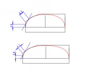 Forme du profil : coupe transversales du manches à la frette 1 et 8