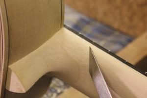 Jonction avec le talon affinée au canif