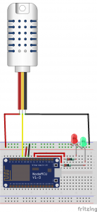 schema pour le controle de l'hygrométrie avec node MCU et une sonde AM2302